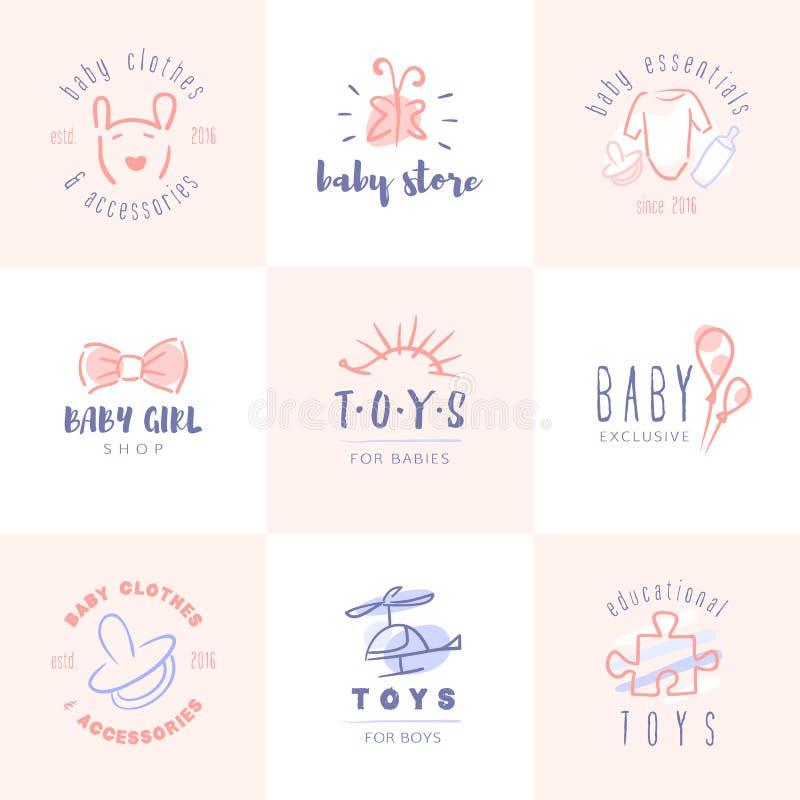 Logos de bébé réglés illustration libre de droits