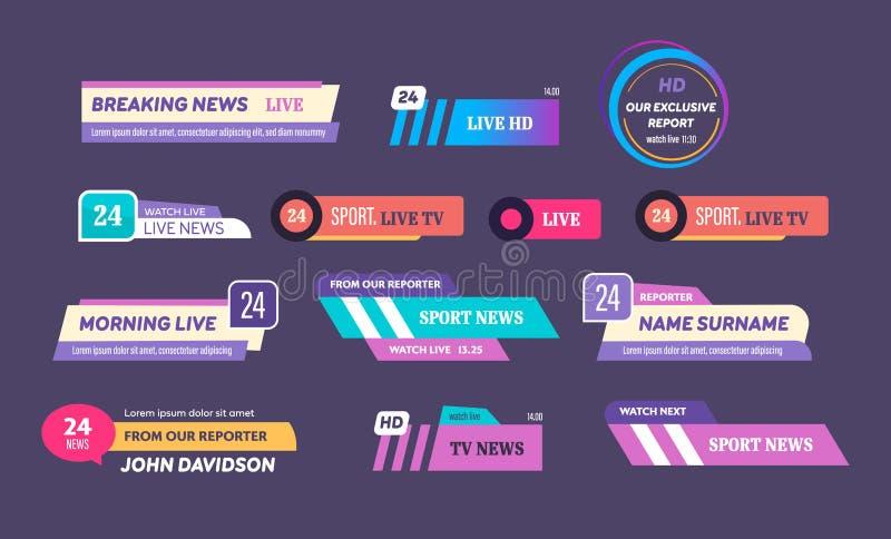 Logos de barre de nouvelles, ic?nes des News feed, t?l?vision, canaux radios illustration stock