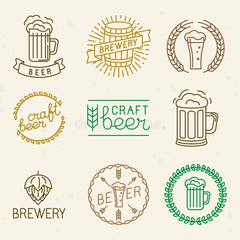 Logos de bière et de brasserie de métier de vecteur illustration libre de droits