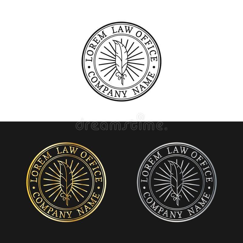 Logos de cabinet juridique réglés Dirigez la mandataire de vintage, labels d'avocat, insignes fermes juridiques Acte, principe, c illustration de vecteur
