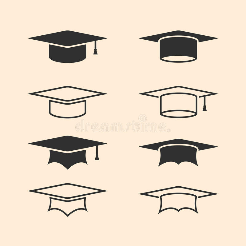 Logos de chapeau d'obtention du diplôme réglés Ensemble de logo de chapeau d'obtention du diplôme Chapeaux scolaires Ligne icônes illustration de vecteur