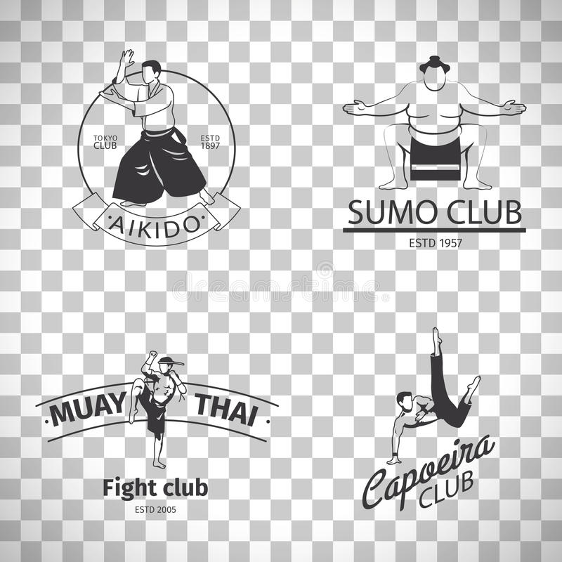 Logos de club de combat sur le fond transparent illustration de vecteur