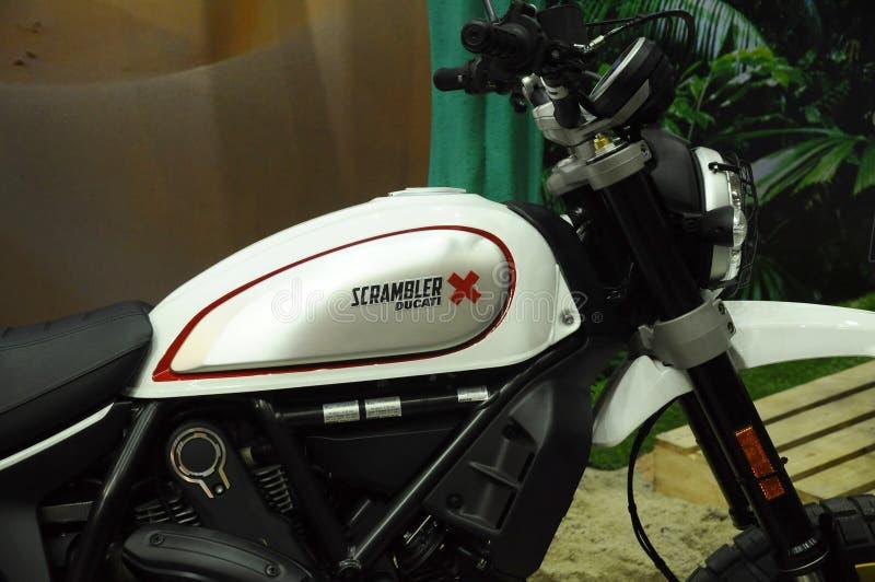 Logos de DUCATI au corps de moto photographie stock
