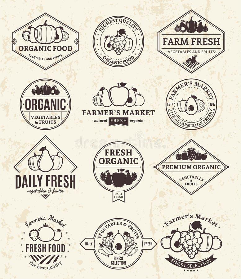 Logos de fruits et légumes, labels et éléments de conception illustration de vecteur