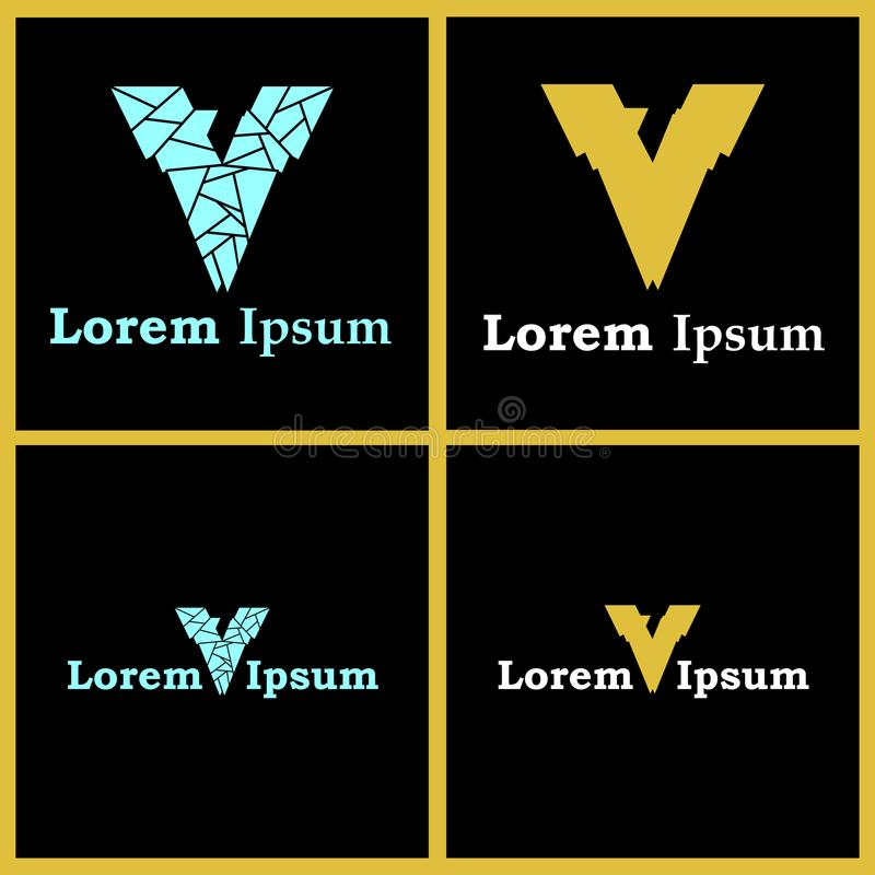 Logos de la lettre V avec le numéro caché par Smart sept photos stock