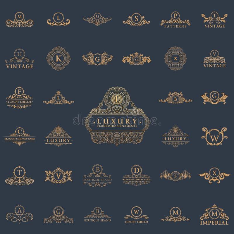 Logos de luxe de vintage réglés Emblèmes et éléments calligraphiques illustration de vecteur
