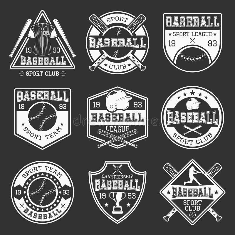 Logos de monochrome de base-ball illustration de vecteur