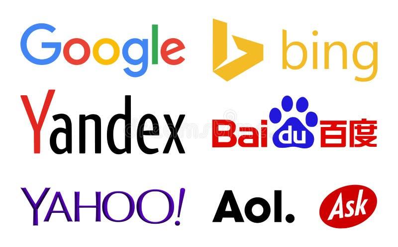 Logos de moteurs de recherche de Web illustration stock