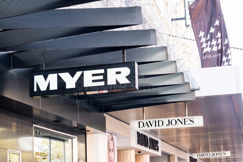 Logos de Myer et de David Jones images stock