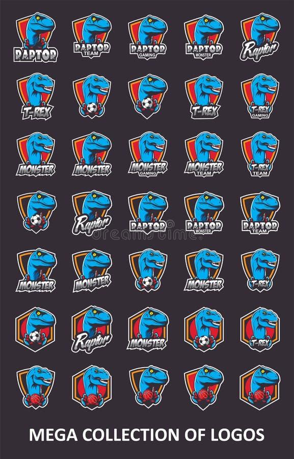Logos de Raptor Placez de 35 insignes de rapace pour vos affaires Calibres de conception moderne pour votre sport collectif illustration de vecteur