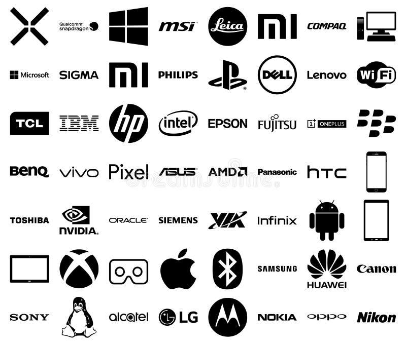Logos de société de technologie illustration stock