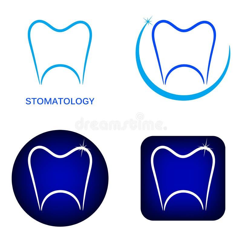 Logos de stomatologie réglés avec la découpe de dent illustration libre de droits