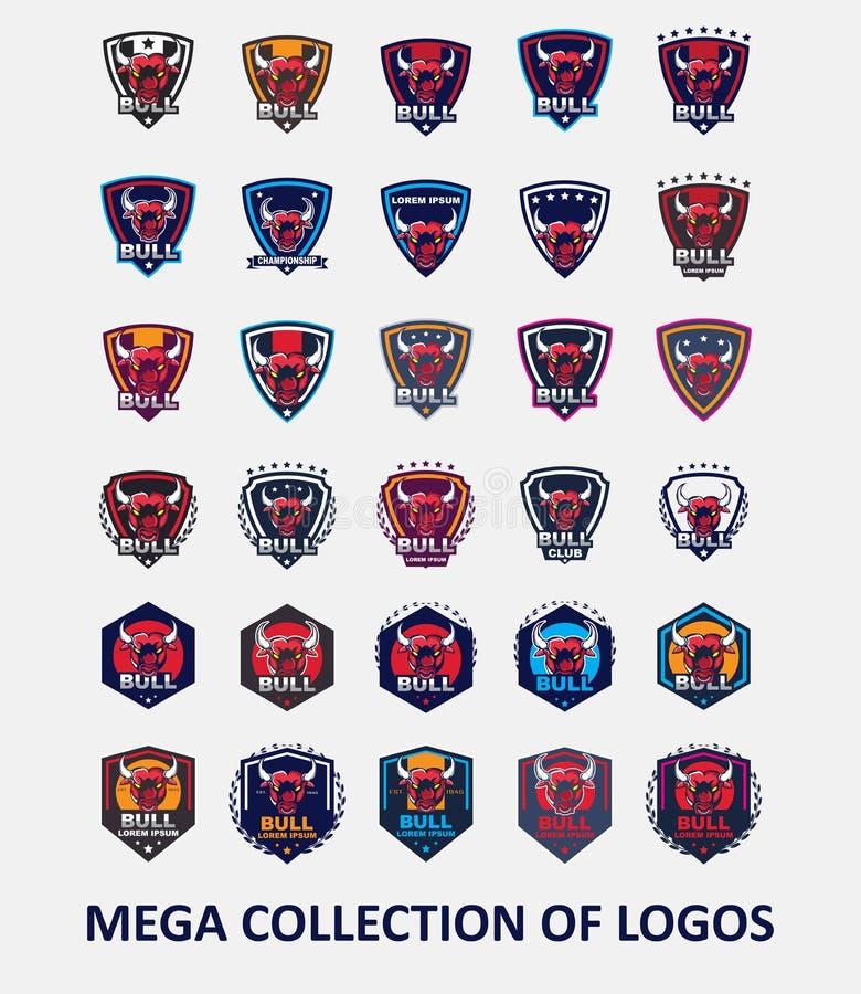Logos de Taureau Placez de 30 insignes de taureau pour vos affaires Calibres de conception moderne pour votre sport collectif illustration libre de droits