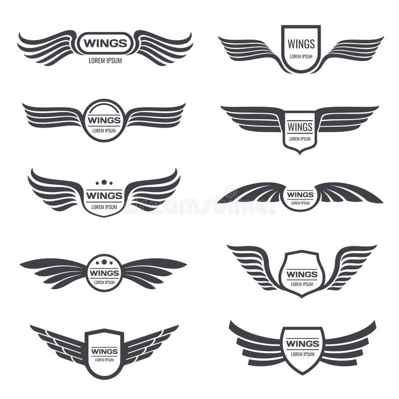 Logos de vecteur d'ailes d'aigle de vol réglés Emblèmes et labels à ailes par vintage illustration de vecteur