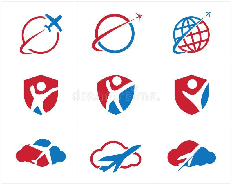 Logos de voyage scénographie, avion dans la maison, coeur et nuage, icônes de vecteur de tourisme illustration de vecteur