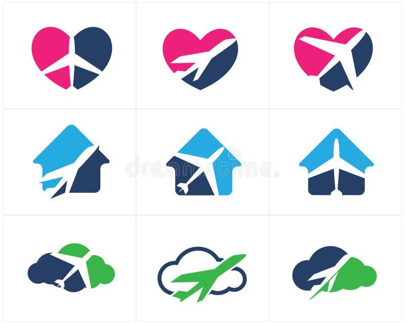 Logos de voyage scénographie, avion dans la maison, coeur et nuage, icônes de vecteur de tourisme illustration stock