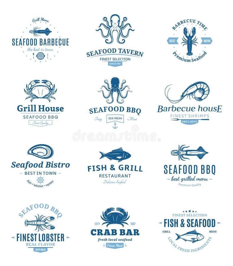 Logos del barbecue dei frutti di mare, etichette ed elementi di progettazione royalty illustrazione gratis