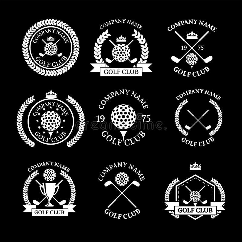 Logos del club di golf messo dei modelli Progettazione del logotype di vettore G bianco illustrazione di stock