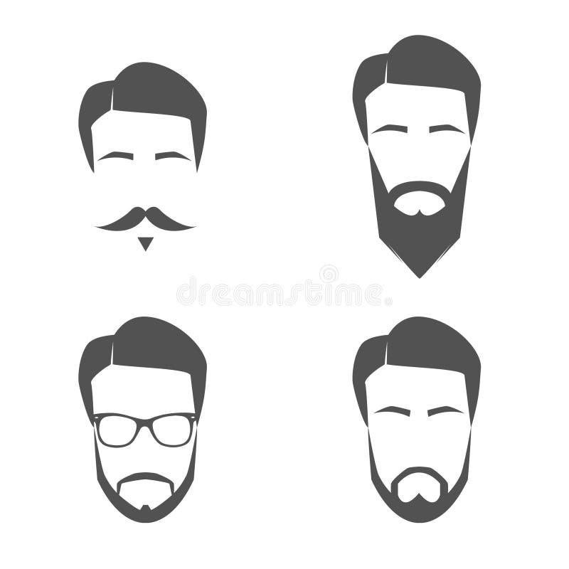 Logos del fronte della barba e dei baffi immagini stock