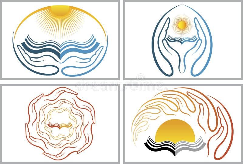 Logos del libro della mano illustrazione di stock