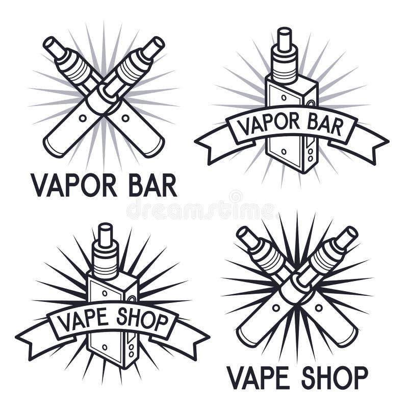 Logos del negozio e della barra di Vape illustrazione vettoriale
