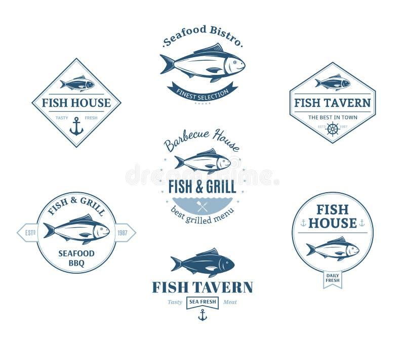 Logos del pesce, etichette ed elementi di progettazione illustrazione vettoriale