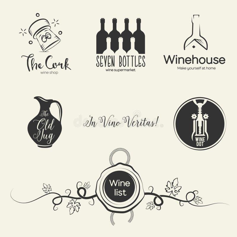 Logos del vino ed elementi di progettazione royalty illustrazione gratis