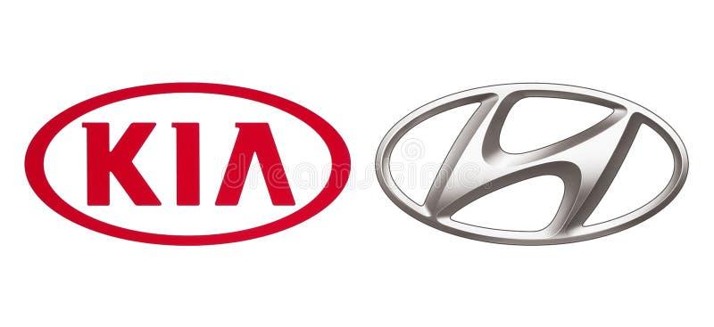 Logos dell'alleanza delle case automobilistiche: Kia Motors e Hyundai fotografie stock libere da diritti