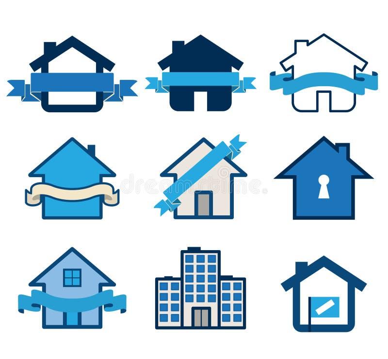 Logos della casa di simbolo del bene immobile illustrazione vettoriale