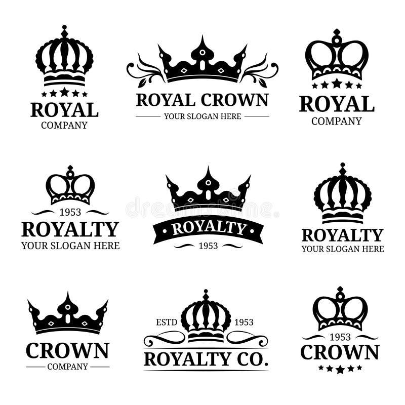 Logos della corona di vettore messo Progettazione di lusso dei monogrammi della corona Illustrazioni delle icone del diadema Usat royalty illustrazione gratis