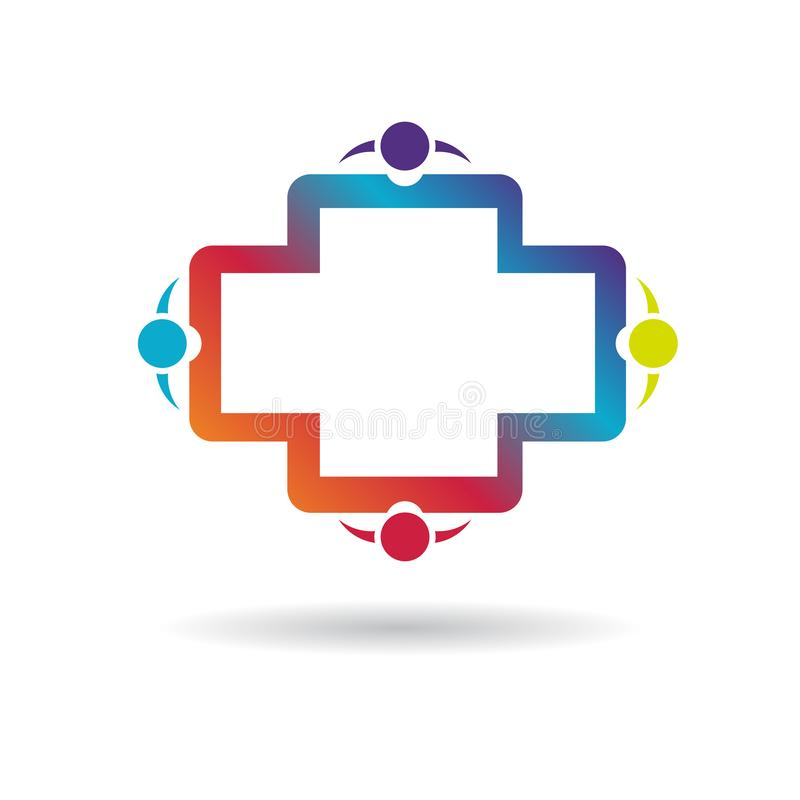 Logos della gente della Comunità, segno dell'elemento dell'icona di logo di concetto della società su fondo bianco Affare illustrazione di stock