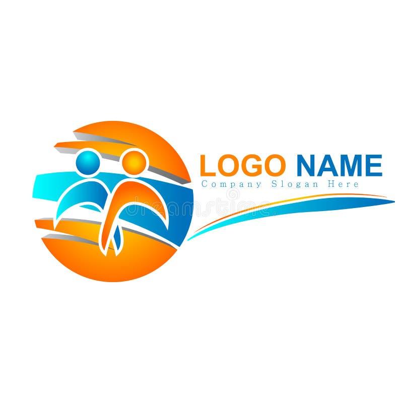 Logos della gente variopinto insieme, nuovo concetto del cerchio 3d del gruppo, cura logo di vettore della cultura della famiglia illustrazione di stock
