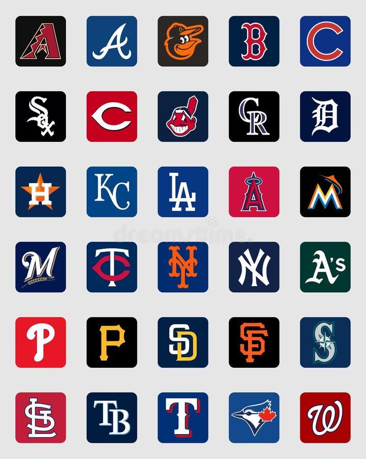 Logos delle insegne del cappuccio di Major League Baseball illustrazione di stock