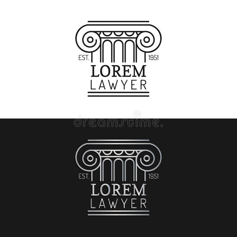 Logos dello studio legale messo Vector l'avvocato d'annata, le etichette dell'avvocato, distintivi costanti giuridici Atto, princ illustrazione di stock