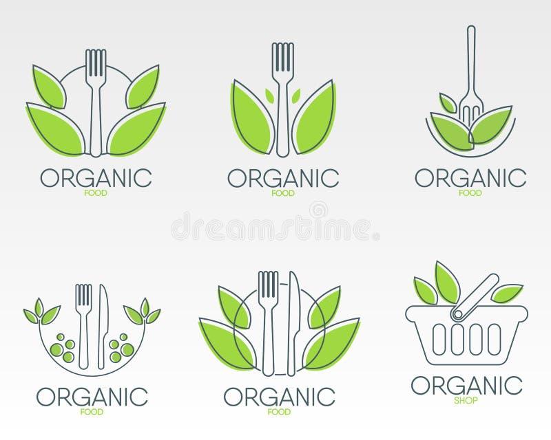 Logos des biologischen Lebensmittels eingestellt Gesunde Lebensmittelikone stock abbildung