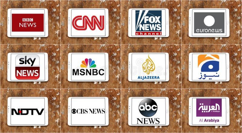Logos des chaînes d'information célèbres supérieures et des réseaux de TV photo libre de droits