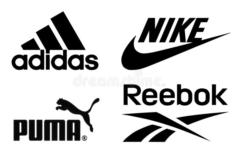 Logos di Adidas, di Nike, del puma e di Reebok fotografie stock