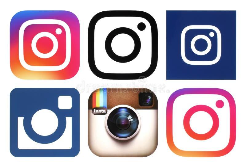Logos di Instagram su fondo bianco