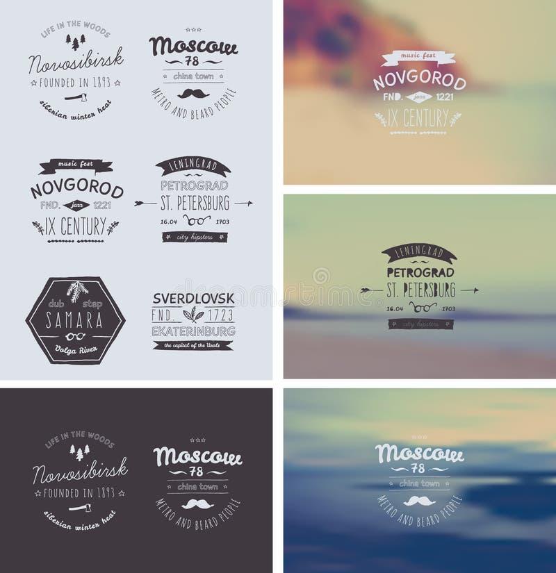 6 logos disegnati a mano di stile Retro annata d'avanguardia illustrazione di stock