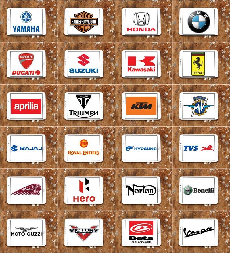 Logos e marche dei produttori dei motocicli fotografia stock libera da diritti