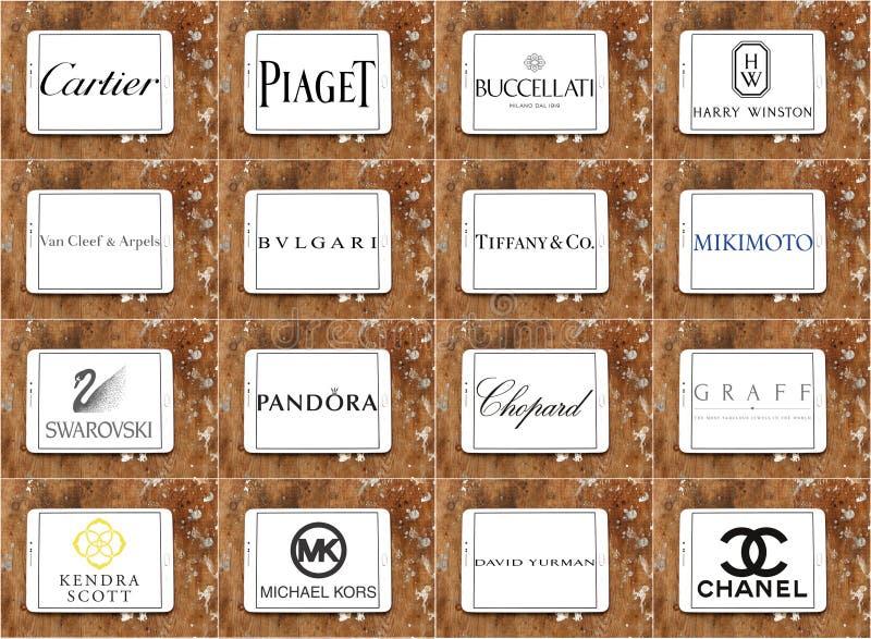 Logos e marche famosi superiori delle società dei gioielli fotografie stock