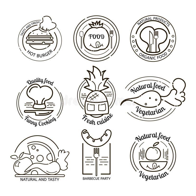 Logos ed emblemi del ristorante messi royalty illustrazione gratis
