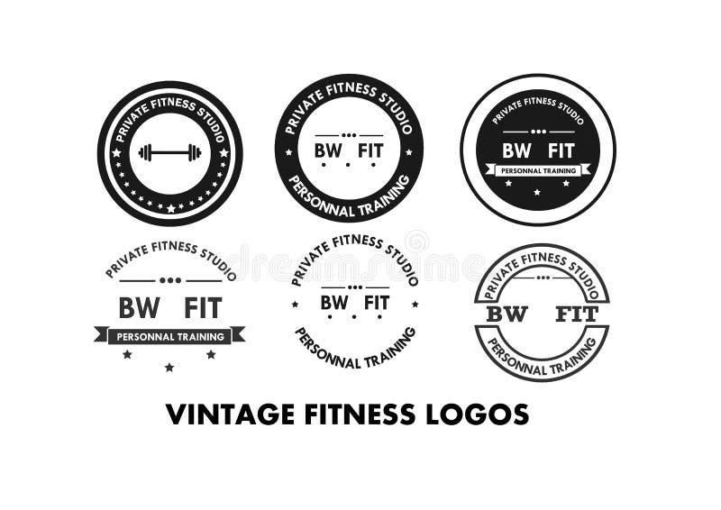 Logos ed emblemi della palestra di forma fisica illustrazione di stock