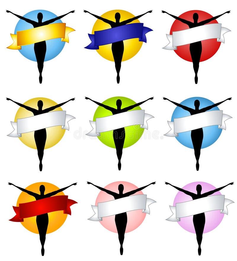 Logos femelles de drapeau de silhouette illustration libre de droits