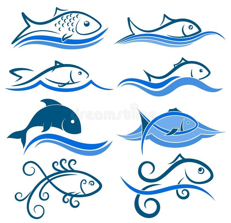 Logos of fish with wave. royalty free illustration