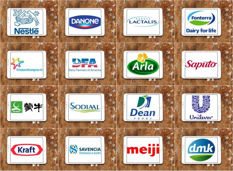 Logos globaux supérieurs de sociétés de laiterie photos stock