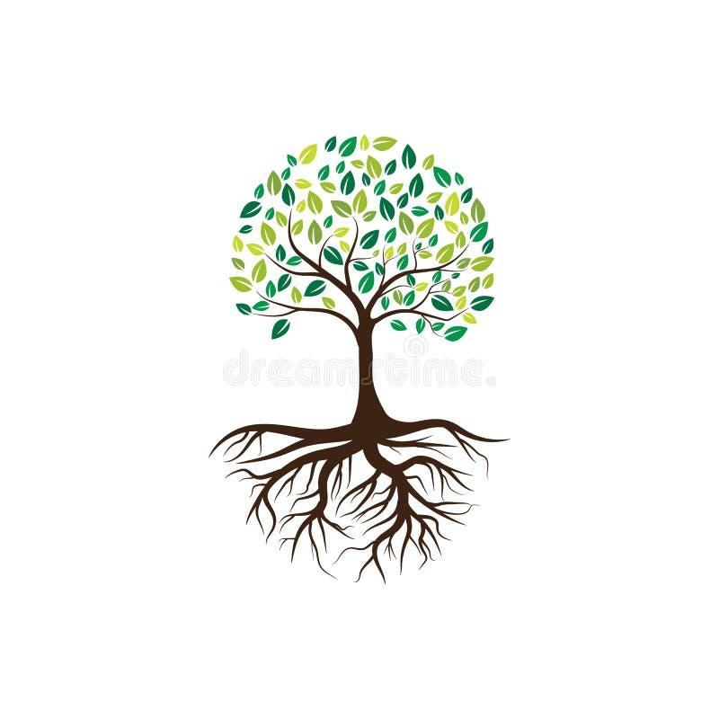 Logos of green Tree leaf ecology royalty free illustration