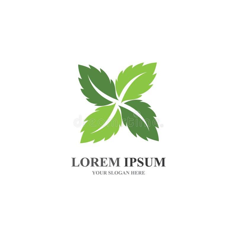Logos of green Tree leaf ecology stock illustration