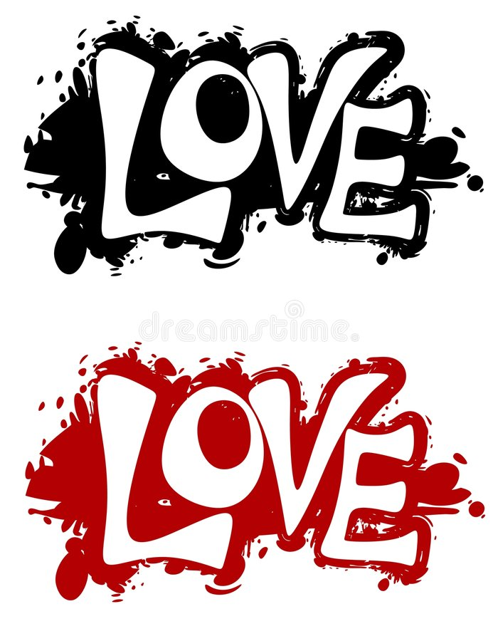 Logos grunges ou drapeaux d'éclaboussure d'encre d'amour illustration libre de droits