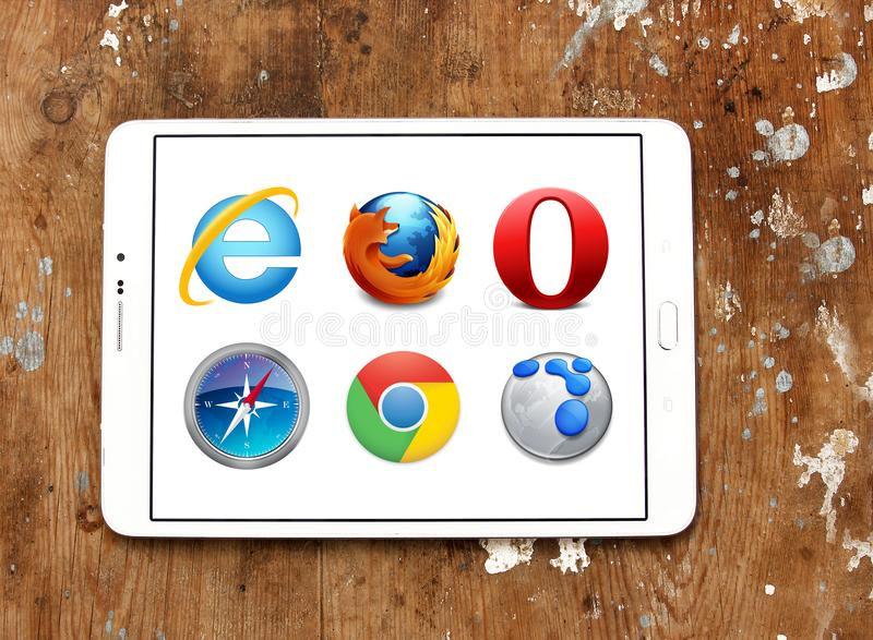 Web browsers icons. Logos and icons of web browsers internet explorer , firefox , google chrome, opera, safari on samsung tablet stock photography